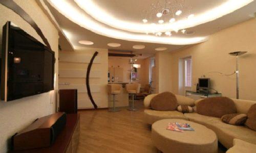 Зала с гипсокартонным потолком