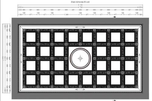 Схема разметки кессонного потолка