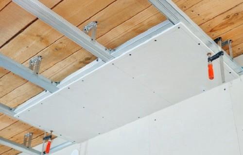 Крепление листов на потолок