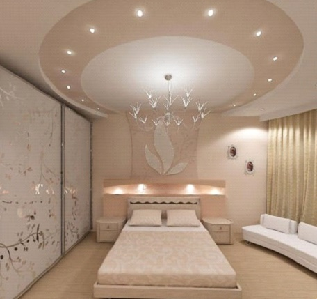 Крыглый потолок в спальне